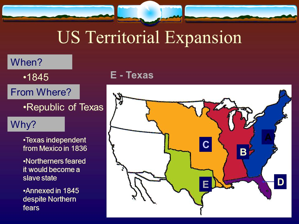 21 US Territorial Expansion A When. From Where. Why.