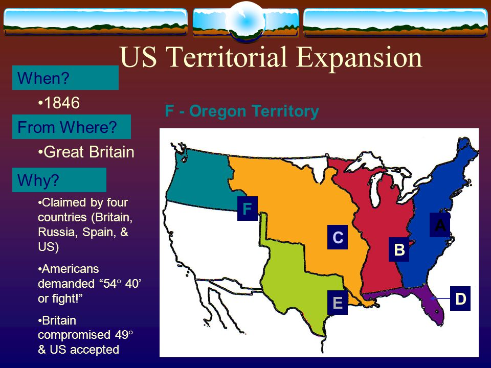 22 US Territorial Expansion A When. From Where. Why.