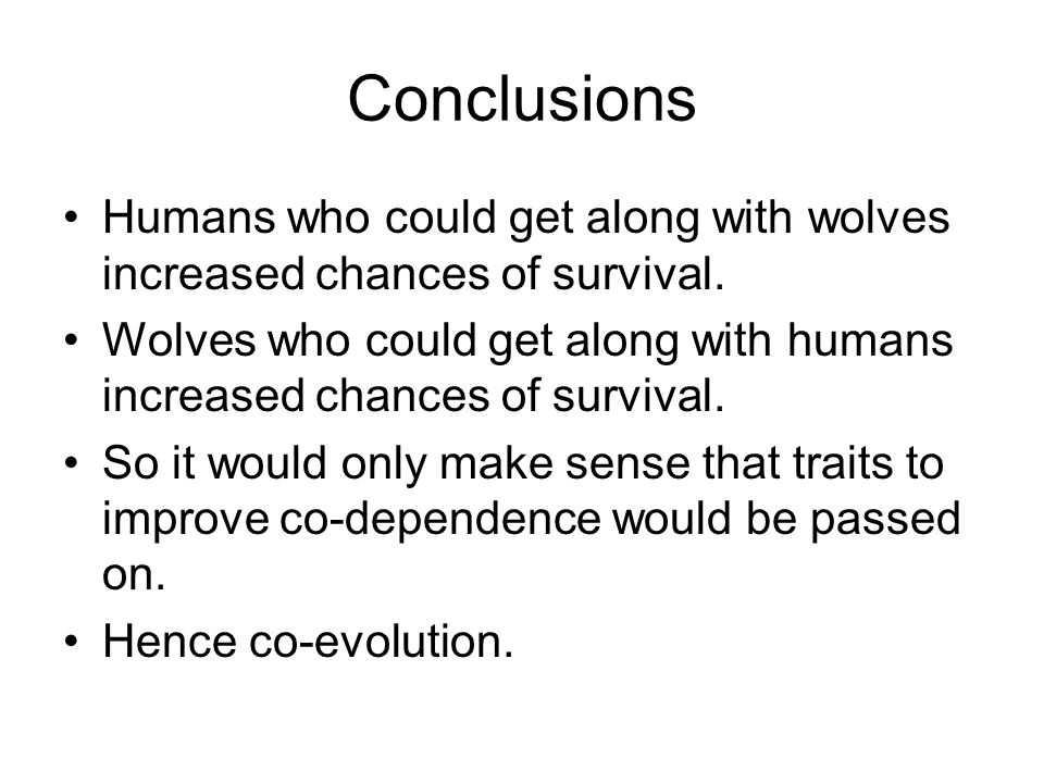 Conclusions Humans who could get along with wolves increased chances of survival.