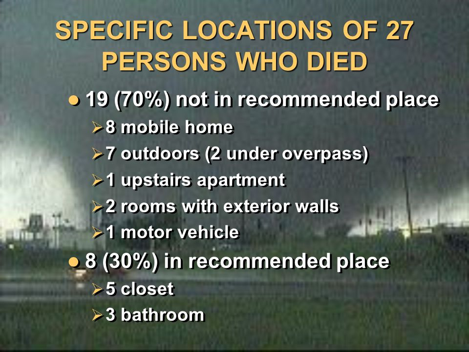SPECIFIC LOCATIONS OF 27 PERSONS WHO DIED 19 (70%) not in recommended place  8 mobile home  7 outdoors (2 under overpass)  1 upstairs apartment  2