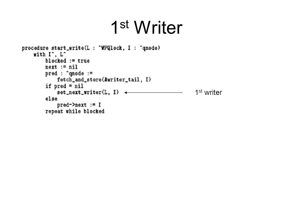 1 st Writer 1 st writer