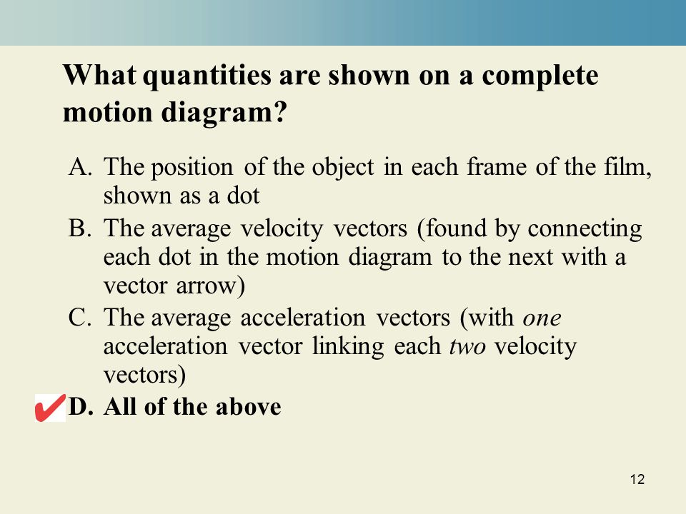 12 What quantities are shown on a complete motion diagram.