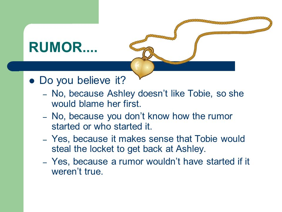 RUMOR.... Do you believe it.