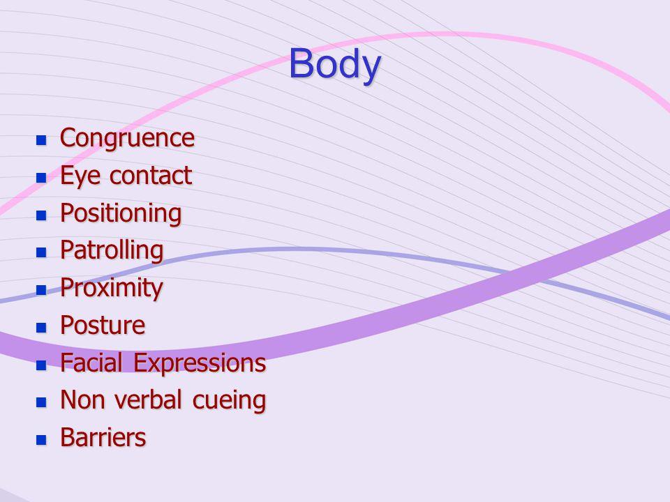 Body Congruence Congruence Eye contact Eye contact Positioning Positioning Patrolling Patrolling Proximity Proximity Posture Posture Facial Expressions Facial Expressions Non verbal cueing Non verbal cueing Barriers Barriers