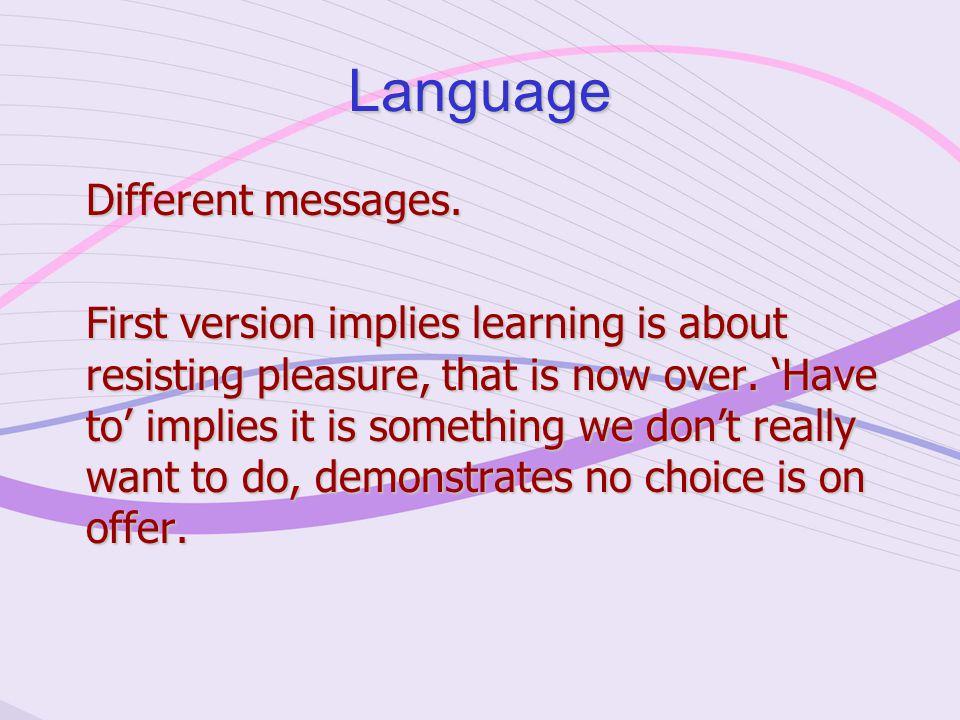 Language Different messages.