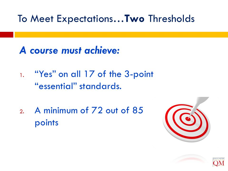"""To Meet Expectations…Two Thresholds A course must achieve: 1. """"Yes"""" on all 17 of the 3-point """"essential"""" standards. 2. A minimum of 72 out of 85 point"""