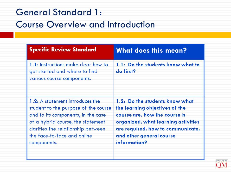 General Standard 1: Course Overview and Introduction Specific Review Standard What does this mean? 1.1: Instructions make clear how to get started and