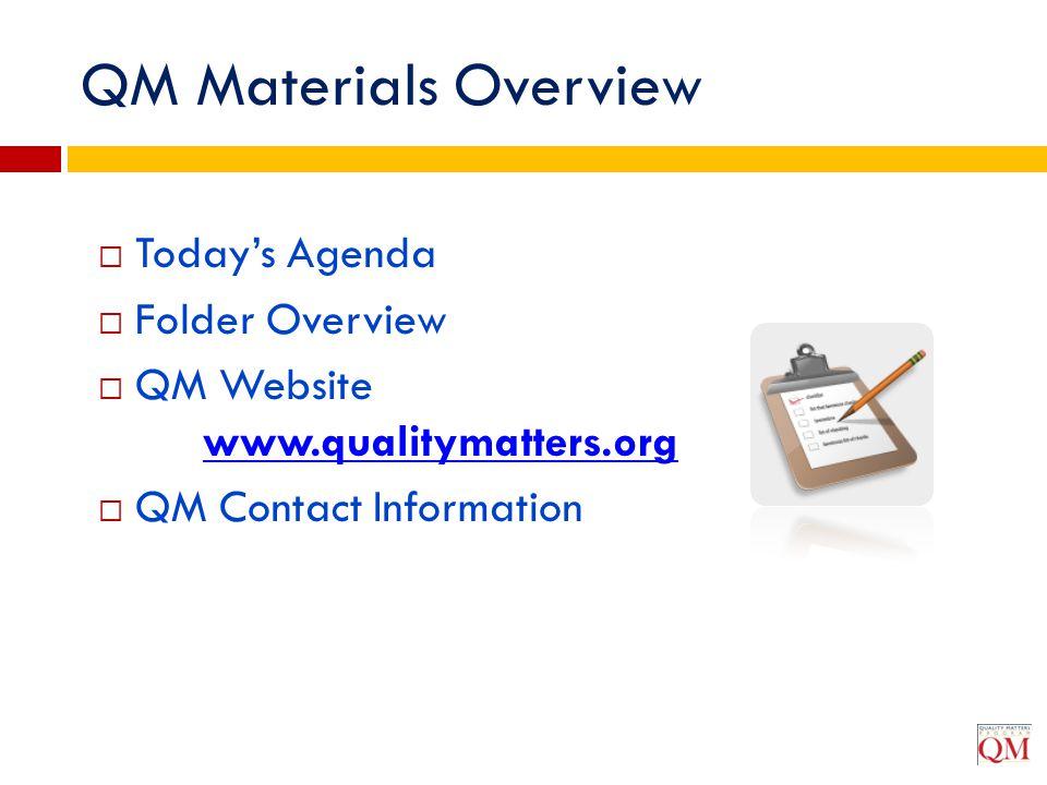  Today's Agenda  Folder Overview  QM Website www.qualitymatters.org www.qualitymatters.org  QM Contact Information QM Materials Overview