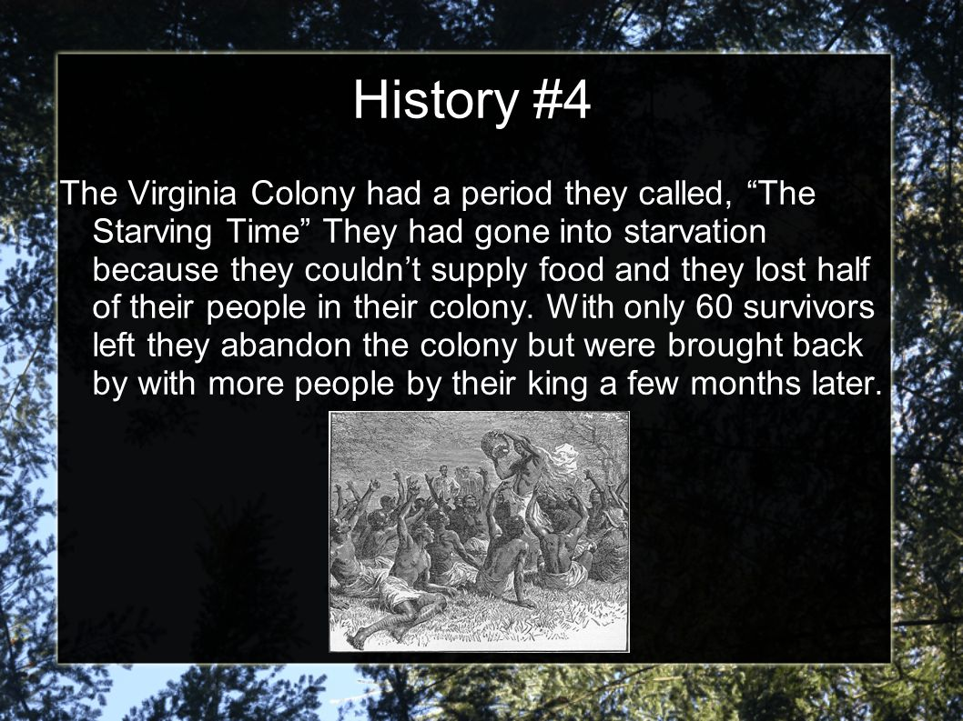 History #4 The Virginia Colony had a period they called, The Starving Time They had gone into starvation because they couldn't supply food and they lost half of their people in their colony.