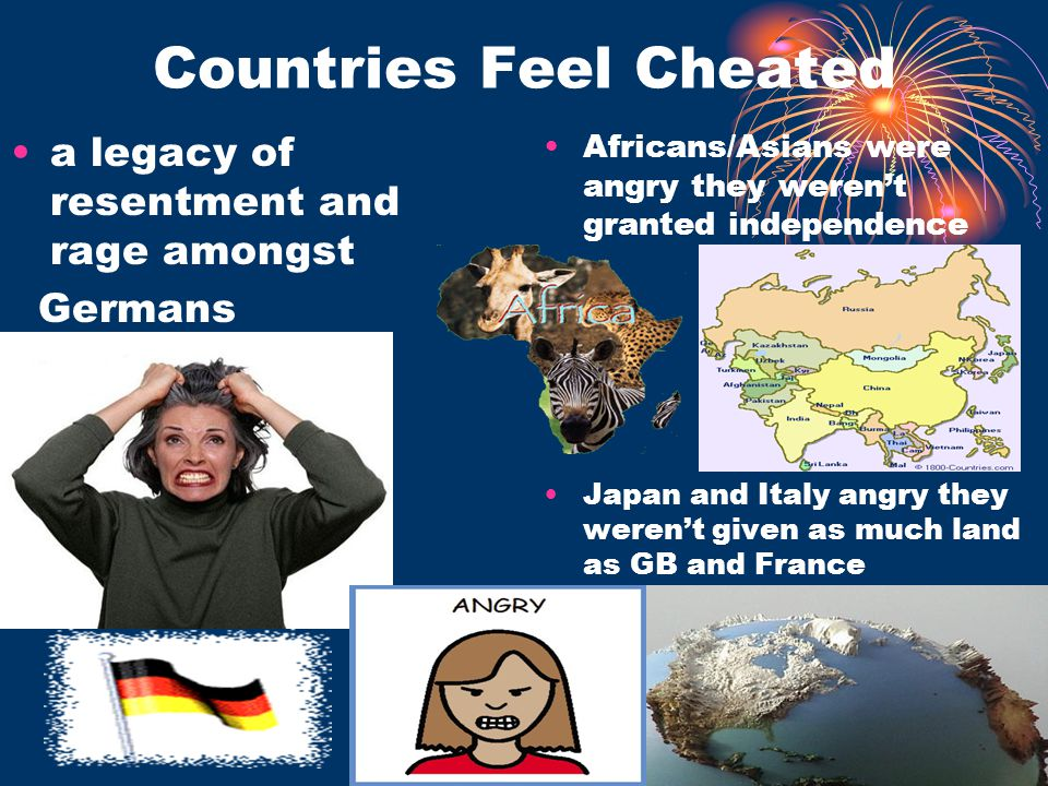 Countries Feel Cheated a legacy of resentment and rage amongst Germans Africans/Asians were angry they weren't granted independence Japan and Italy an