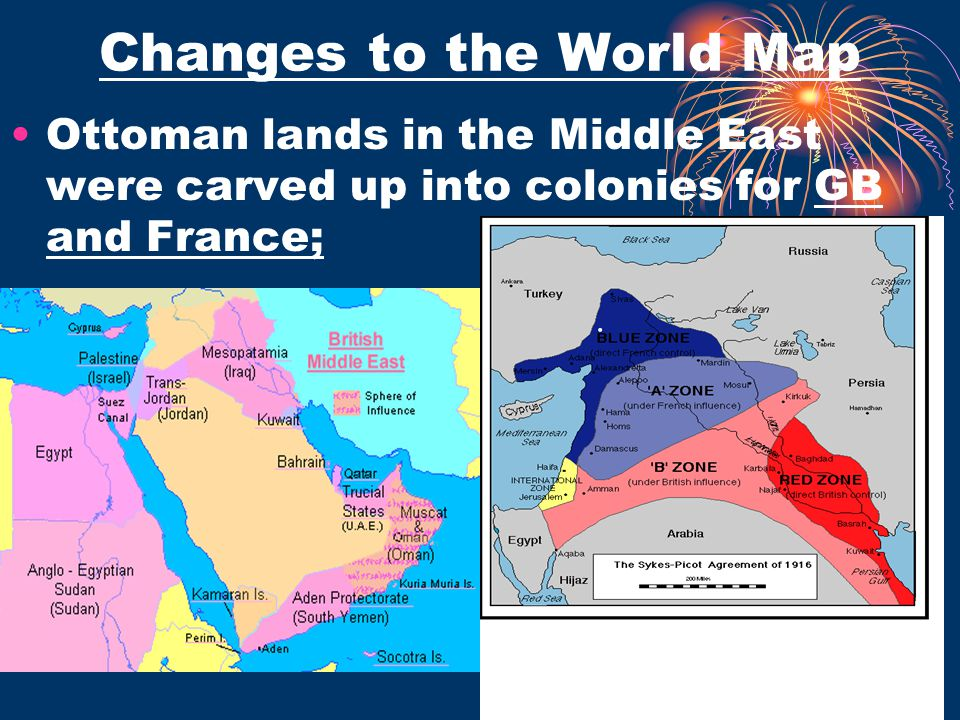 Ottoman lands in the Middle East were carved up into colonies for GB and France;