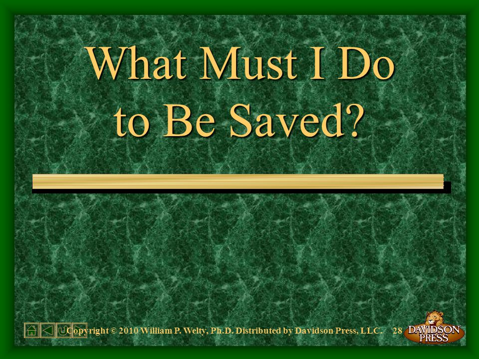 What Must I Do to Be Saved. Copyright © 2010 William P.