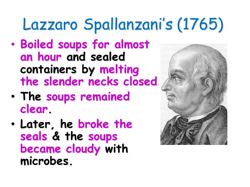 Lazzaro Spallanzani's (1765) Boiled soups for almost an hour and sealed containers by melting the slender necks closed Boiled soups for almost an hour