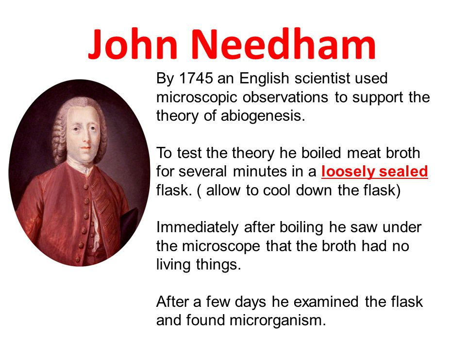 John Needham By 1745 an English scientist used microscopic observations to support the theory of abiogenesis. To test the theory he boiled meat broth
