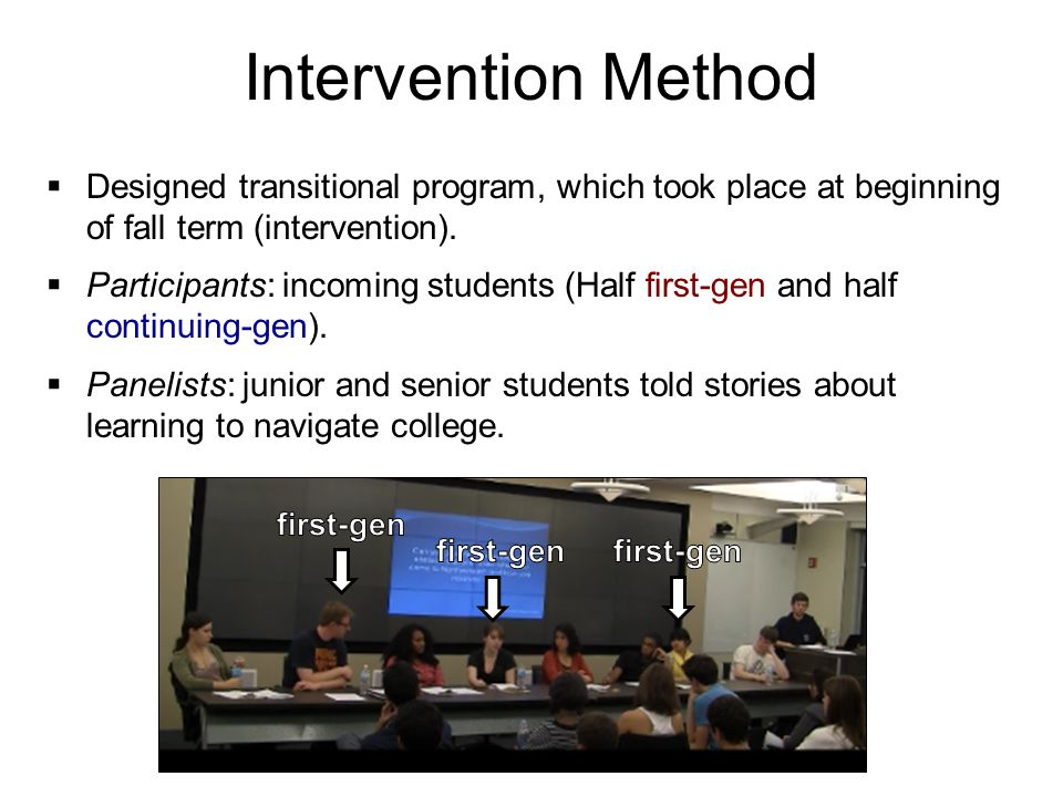 Intervention Method  Designed transitional program, which took place at beginning of fall term (intervention).