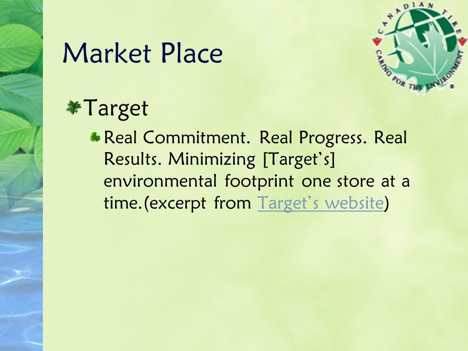 Market Place Target Real Commitment. Real Progress.