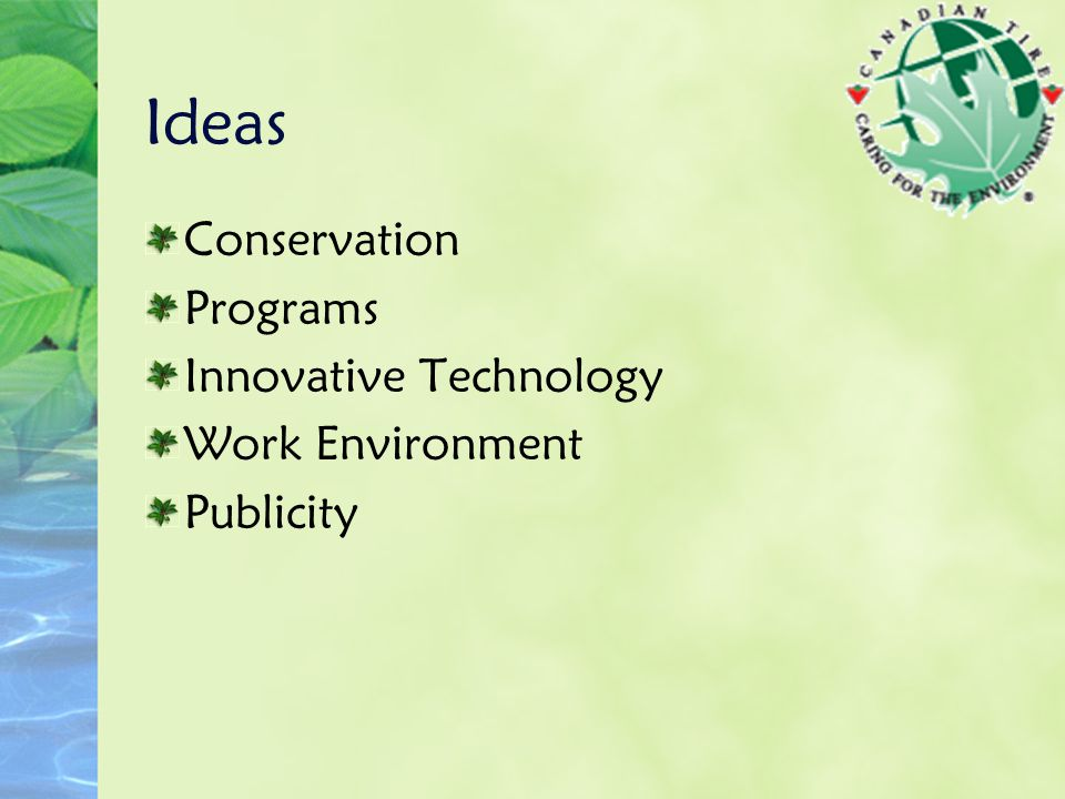 Ideas Conservation Programs Innovative Technology Work Environment Publicity