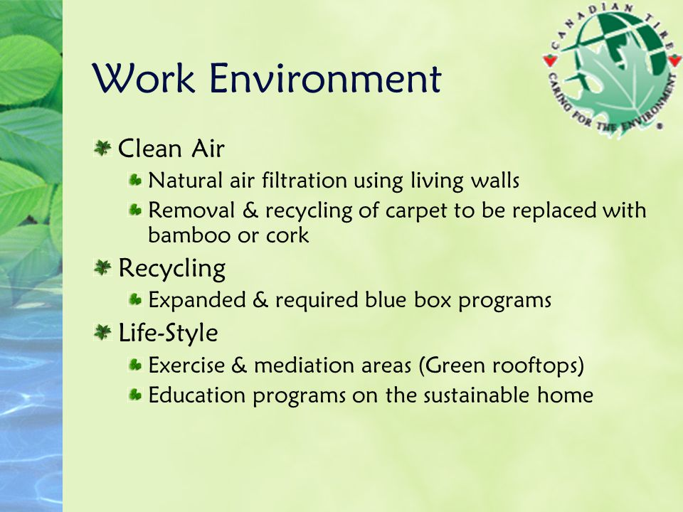 Work Environment Clean Air Natural air filtration using living walls Removal & recycling of carpet to be replaced with bamboo or cork Recycling Expand