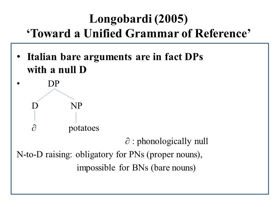 Determinerless arguments (1) PNs(proper names): (2) BNs(bare nouns): to denote a definite, specific entity mass or plural head nouns (Kripke 1980) Ho incontrato Maria/te a.