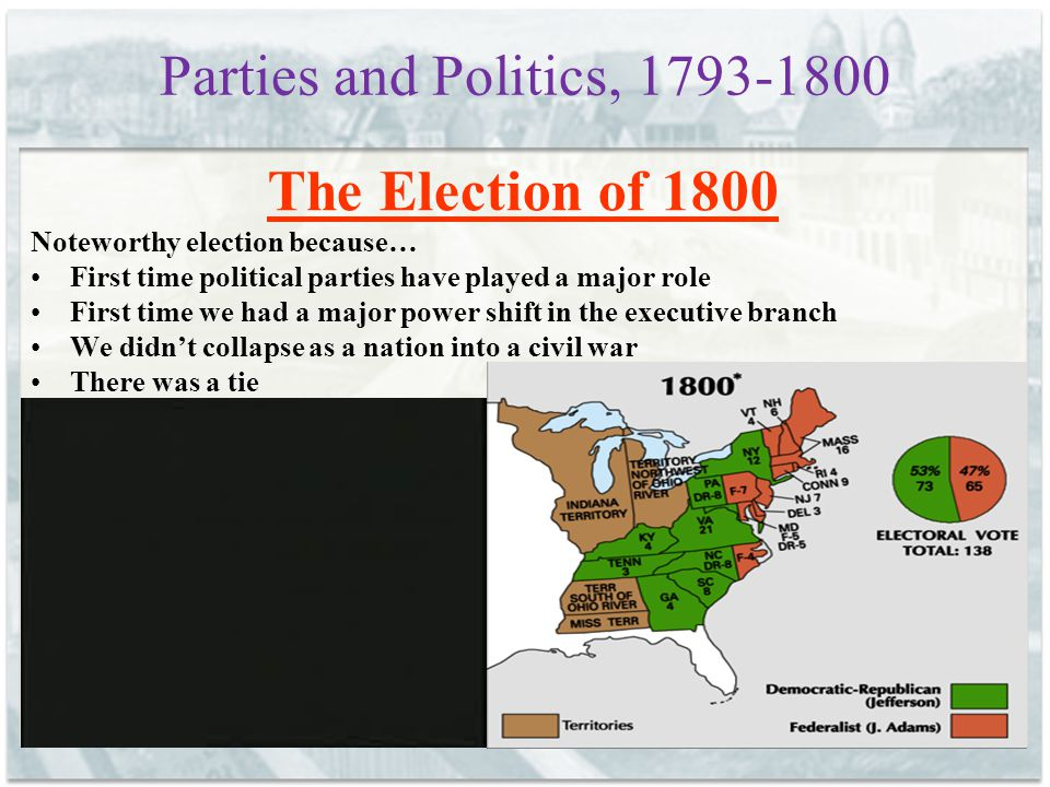 Parties and Politics, 1793-1800 The Election of 1800 Noteworthy election because… First time political parties have played a major role First time we had a major power shift in the executive branch We didn't collapse as a nation into a civil war There was a tie