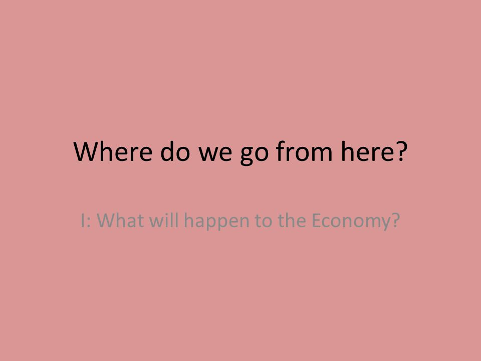 Where do we go from here I: What will happen to the Economy