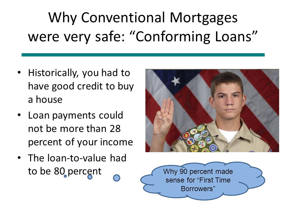 Why Conventional Mortgages were very safe: Conforming Loans Historically, you had to have good credit to buy a house Loan payments could not be more than 28 percent of your income The loan-to-value had to be 80 percent Why 90 percent made sense for First Time Borrowers