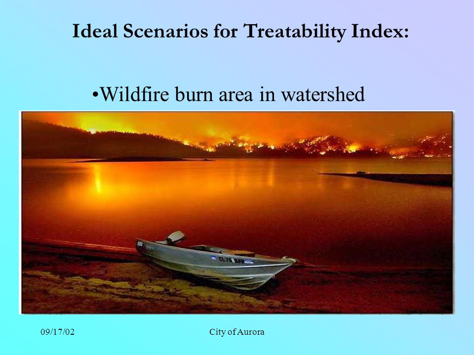 09/17/02City of Aurora Ideal Scenarios for Treatability Index: Wildfire burn area in watershed