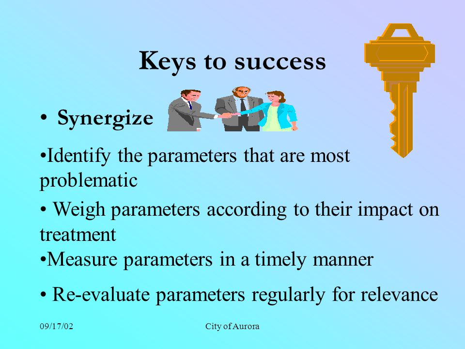 09/17/02City of Aurora Keys to success Synergize Identify the parameters that are most problematic Weigh parameters according to their impact on treatment Re-evaluate parameters regularly for relevance Measure parameters in a timely manner
