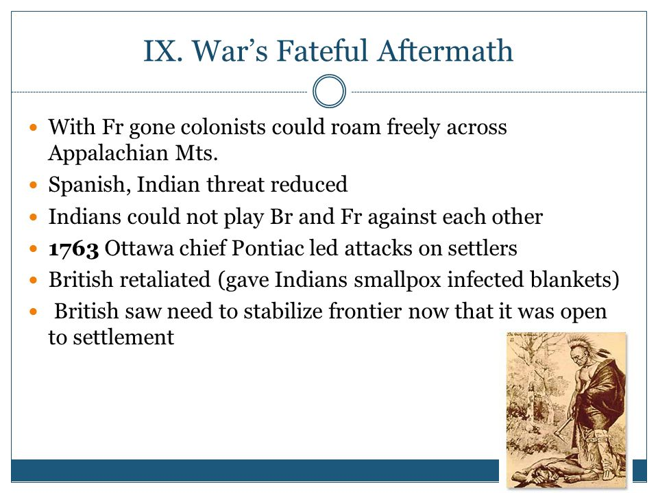 IX.War's Fateful Aftermath With Fr gone colonists could roam freely across Appalachian Mts.