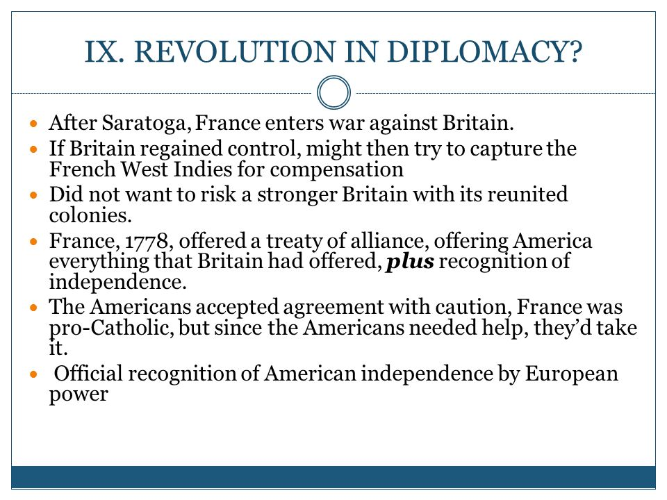 IX.REVOLUTION IN DIPLOMACY. After Saratoga, France enters war against Britain.