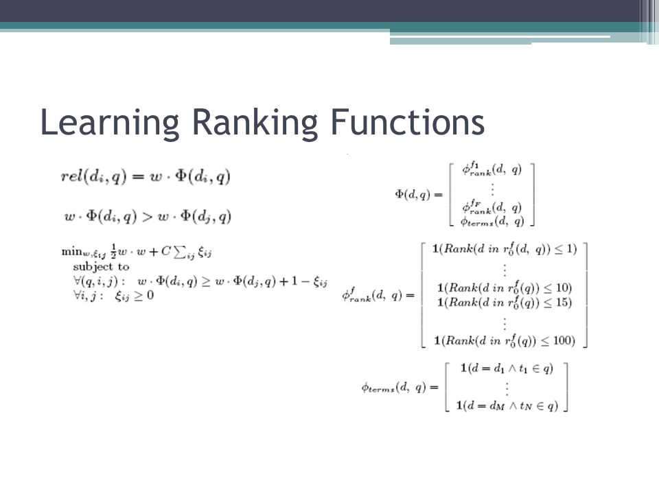 Learning Ranking Functions