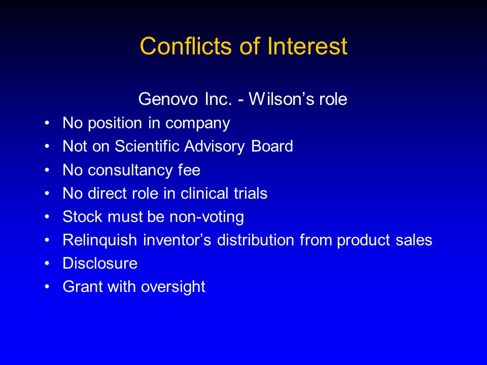 Conflicts of Interest Genovo Inc.