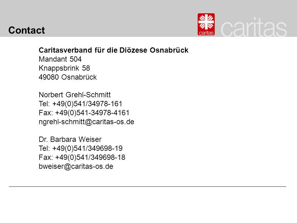 Contact Caritasverband für die Diözese Osnabrück Mandant 504 Knappsbrink 58 49080 Osnabrück Norbert Grehl-Schmitt Tel: +49(0)541/34978-161 Fax: +49(0)
