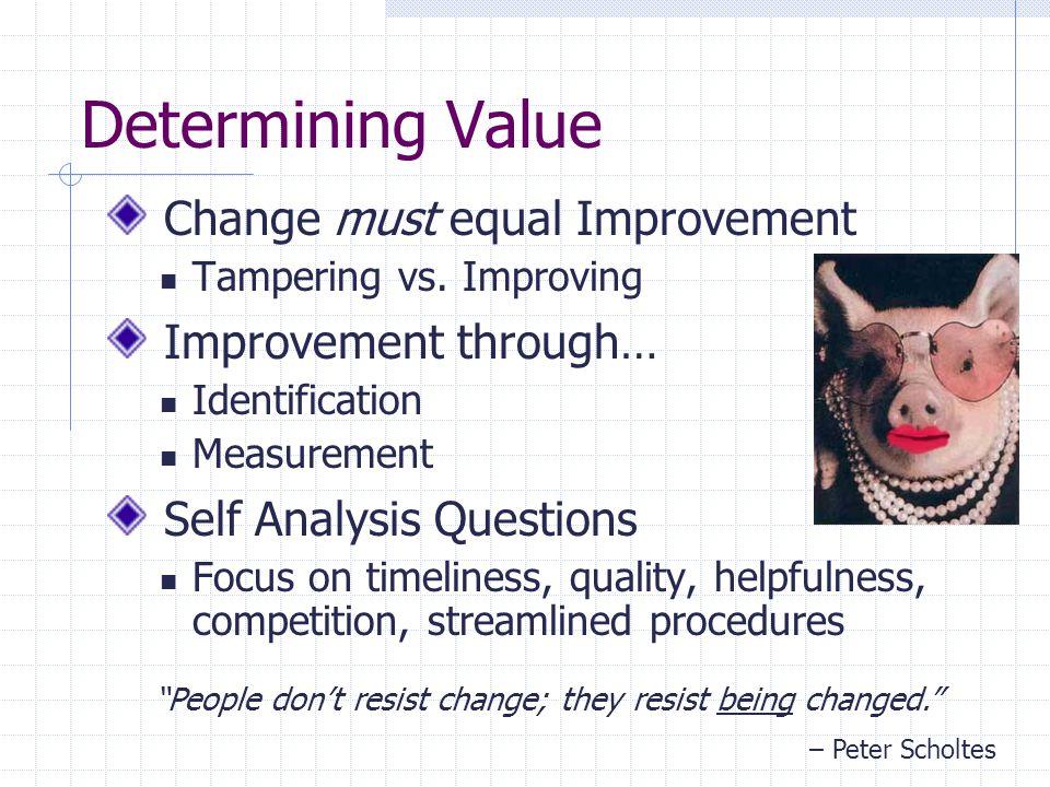 Determining Value Change must equal Improvement Tampering vs.