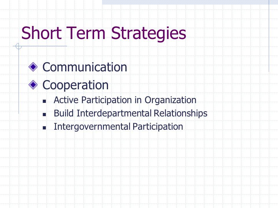 Short Term Strategies Communication Cooperation Active Participation in Organization Build Interdepartmental Relationships Intergovernmental Participa