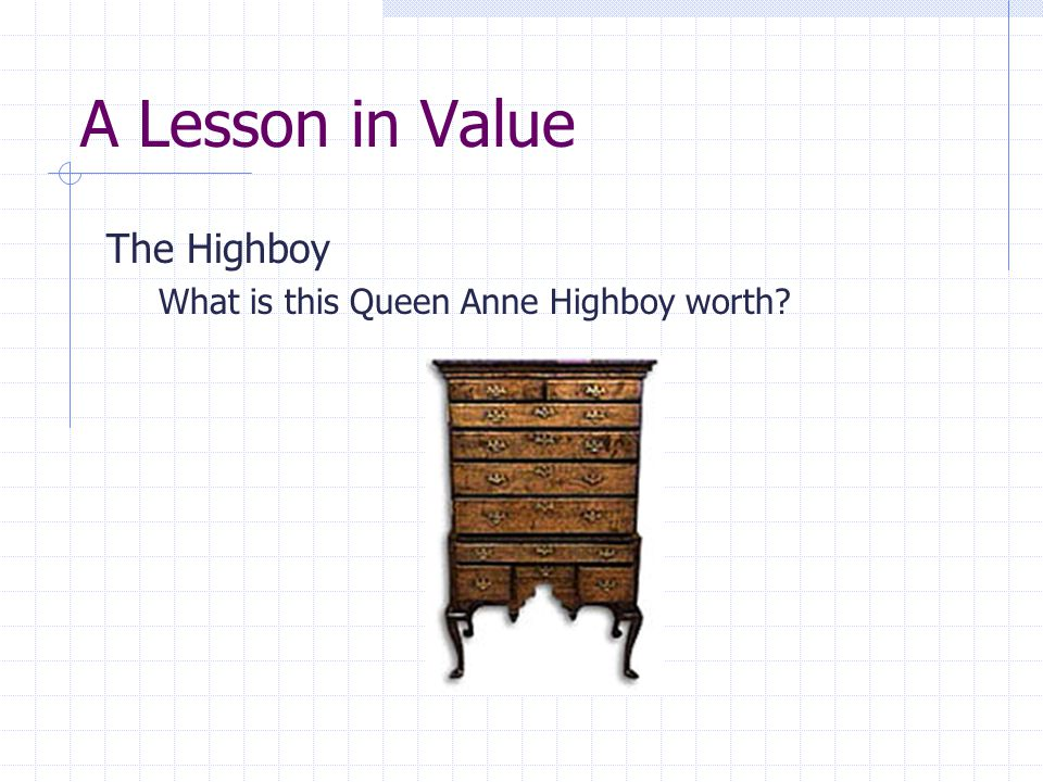 A Lesson in Value The Highboy What is this Queen Anne Highboy worth?