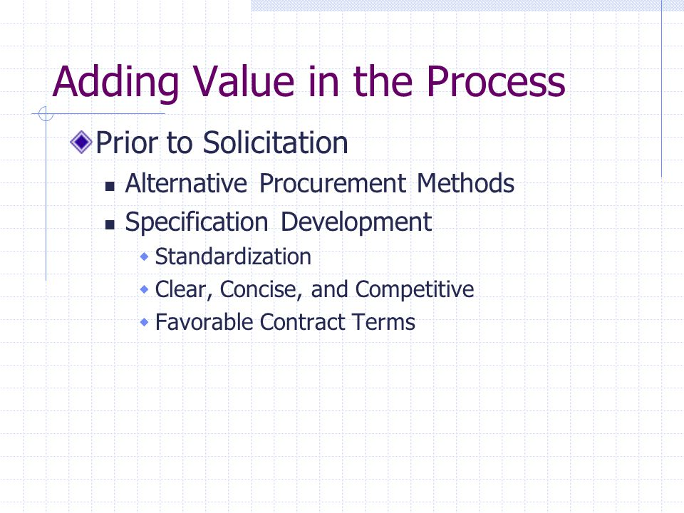 Adding Value in the Process Prior to Solicitation Alternative Procurement Methods Specification Development  Standardization  Clear, Concise, and Competitive  Favorable Contract Terms