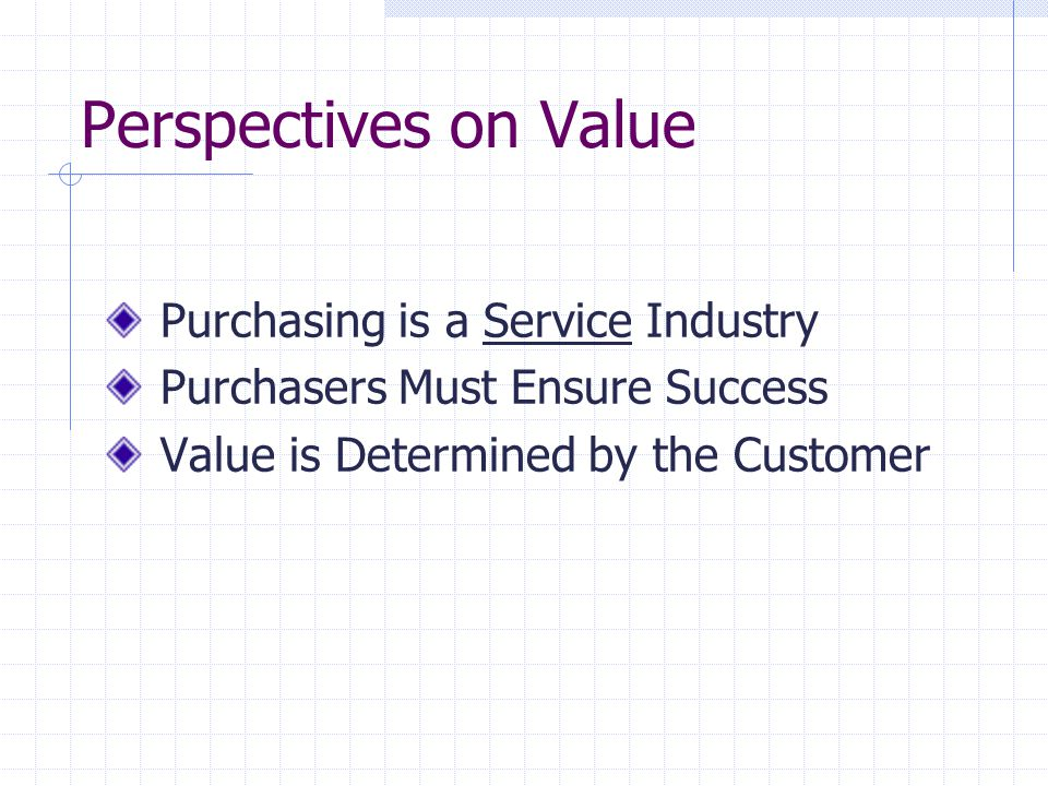 Perspectives on Value Purchasing is a Service Industry Purchasers Must Ensure Success Value is Determined by the Customer