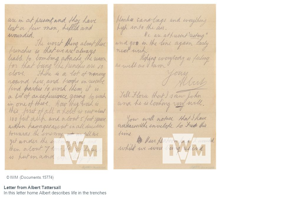 Letter from Albert Tattersall In this letter home Albert describes life in the trenches © IWM (Documents.15774)