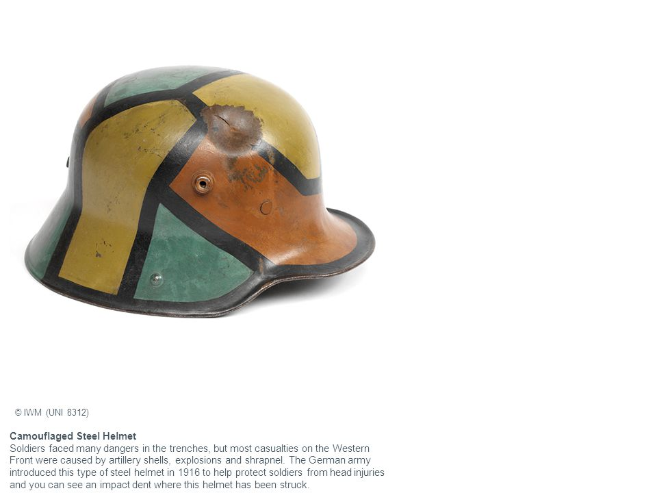 Camouflaged Steel Helmet Soldiers faced many dangers in the trenches, but most casualties on the Western Front were caused by artillery shells, explos