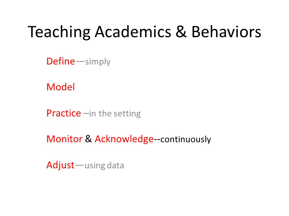 Teaching Academics & Behaviors Define— simply Model Practice – in the setting Monitor & Acknowledge-- continuously Adjust— using data