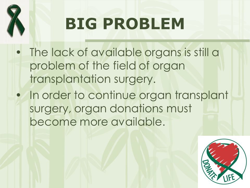 BIG PROBLEM The lack of available organs is still a problem of the field of organ transplantation surgery. In order to continue organ transplant surge