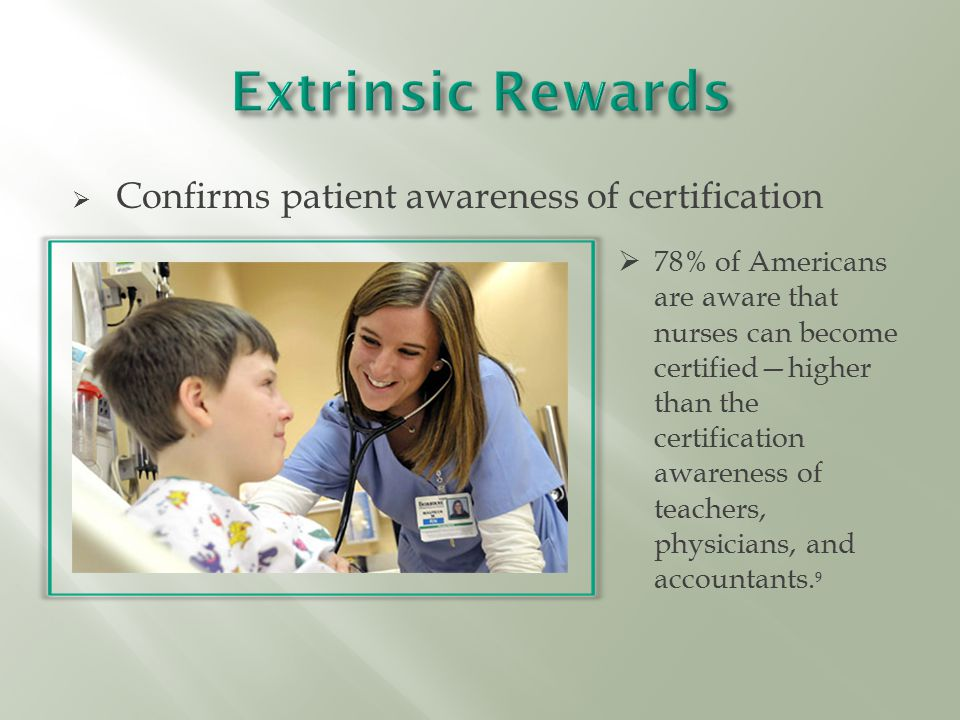  Confirms patient awareness of certification  78% of Americans are aware that nurses can become certified—higher than the certification awareness of teachers, physicians, and accountants.
