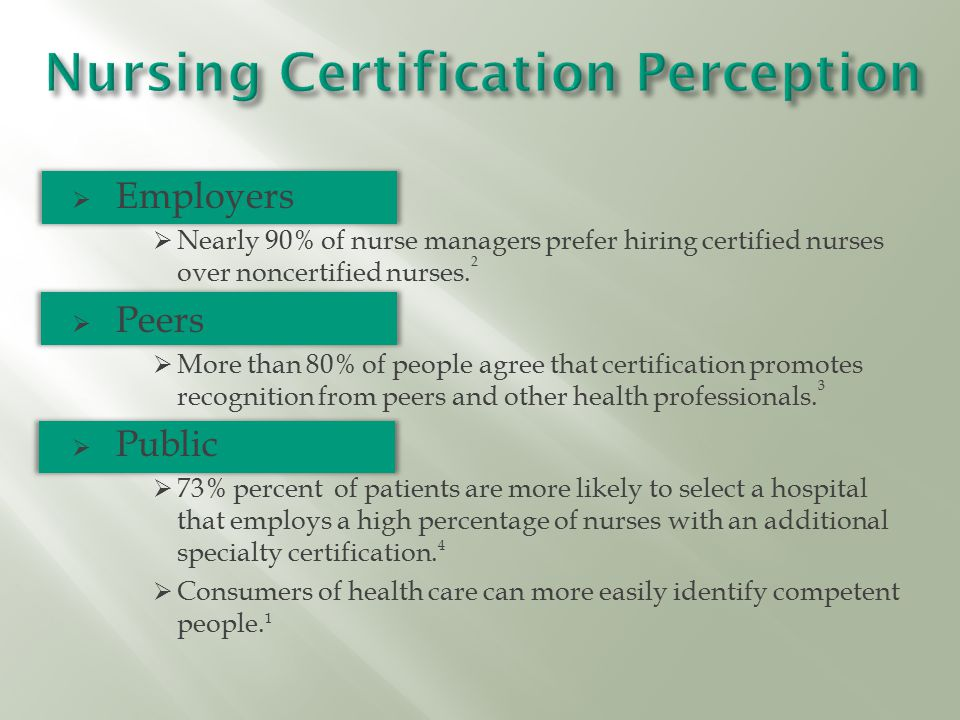  Employers  Nearly 90% of nurse managers prefer hiring certified nurses over noncertified nurses.