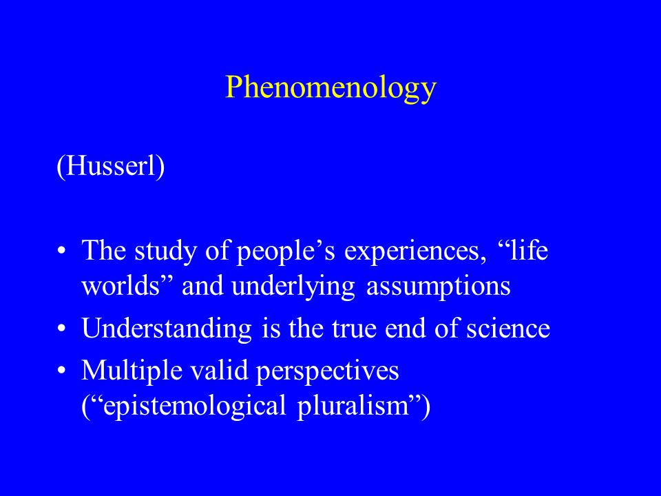 Types of phenomenological research Grounded theory (Glaser & Strauss) Interpretative phenomenological analysis (Smith) Life history research (Denzin) Participant observation (Taylor & Bogdan) Protocol analysis (Ericsson & Simon)