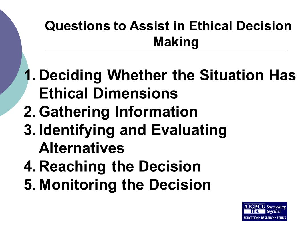 Questions to Assist in Ethical Decision Making 1.Deciding Whether the Situation Has Ethical Dimensions 2.Gathering Information 3.Identifying and Evaluating Alternatives 4.Reaching the Decision 5.Monitoring the Decision