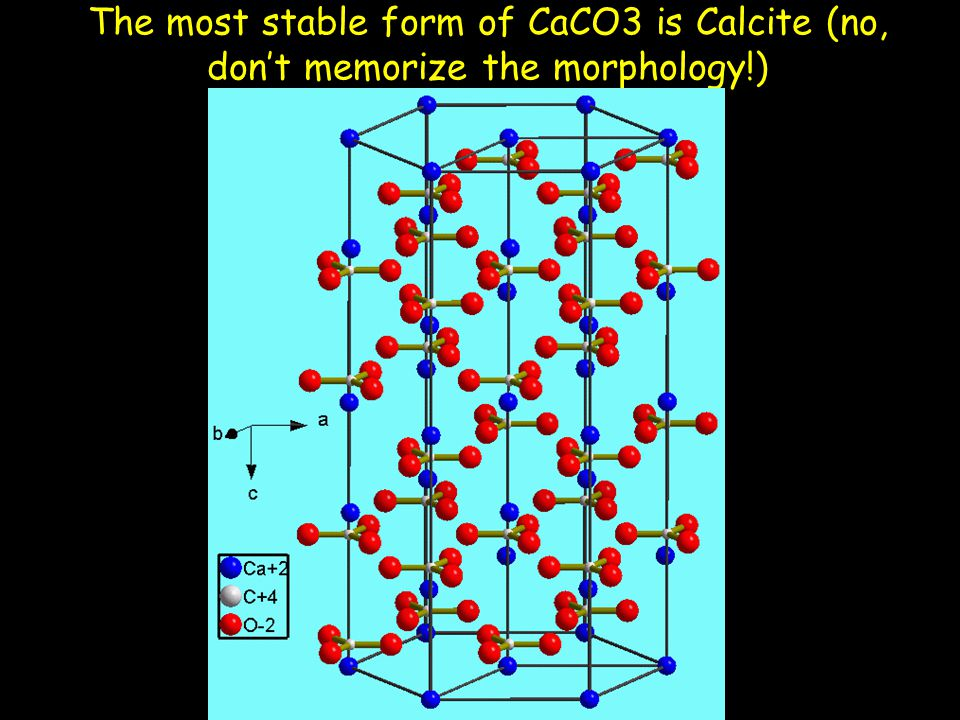The most stable form of CaCO3 is Calcite (no, don't memorize the morphology!)