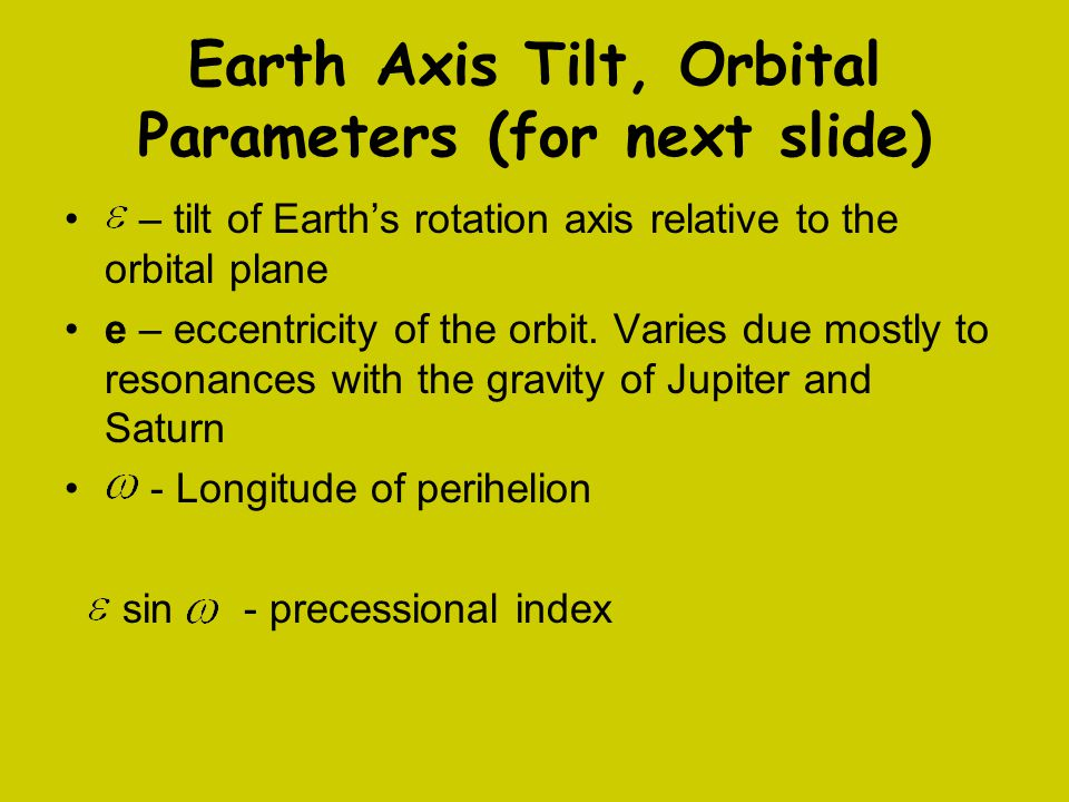 Earth Axis Tilt, Orbital Parameters (for next slide) – tilt of Earth's rotation axis relative to the orbital plane e – eccentricity of the orbit.
