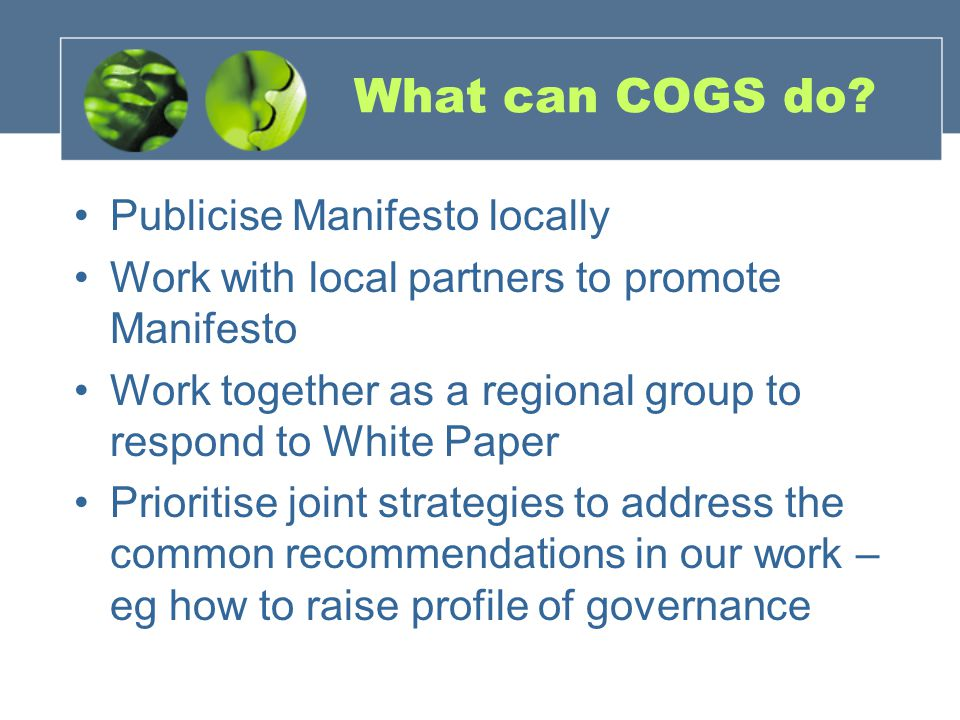 What can COGS do.