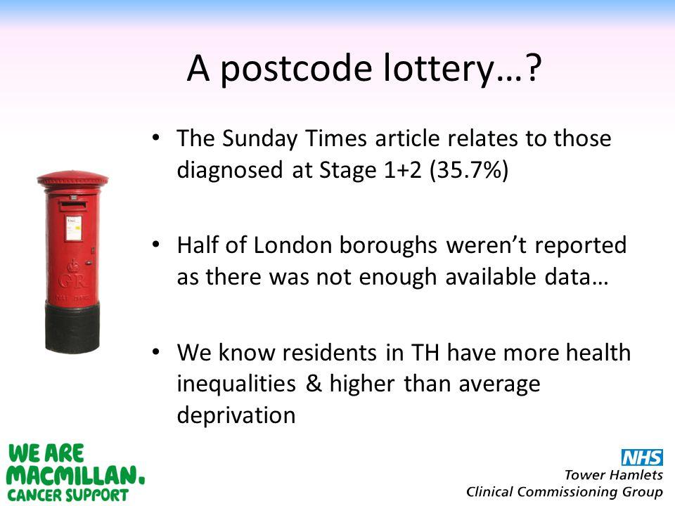 A postcode lottery….